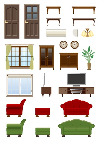 Living room furniture Stock Vector - 20417304