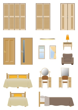 Bedroom furniture Vector