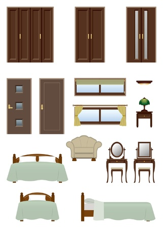 Bedroom furniture Stock Vector - 20417305