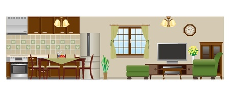 Living room   Dining room   Kitchen Vector