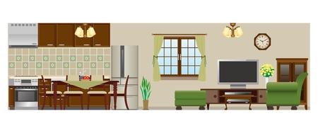 Woonkamer Eetkamer Keuken Stock Illustratie