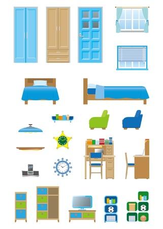 Boys room_furniture  イラスト・ベクター素材