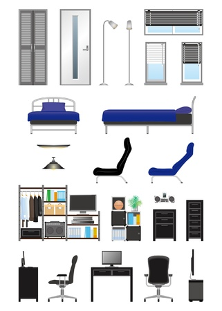 Mens room_furniture Vector