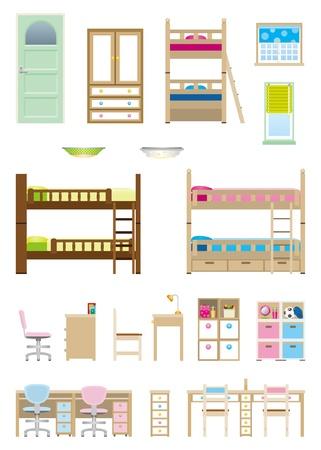 Children   Room   Furniture Illustration