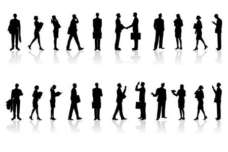 De mensen die in een office_Silhouette werken Stock Illustratie