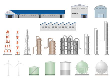 petrochemie industrie: Fabriek Stock Illustratie