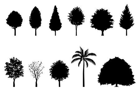 街路樹のシルエット  イラスト・ベクター素材