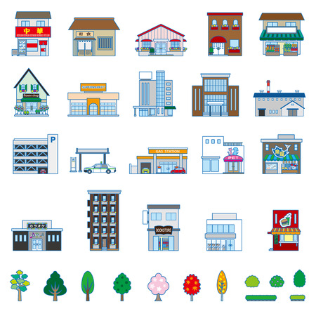 plant stand: Various building Illustration