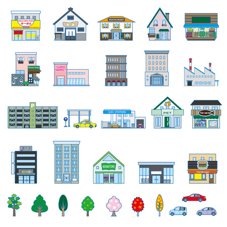 chinese fast food: Varios edificio Vectores