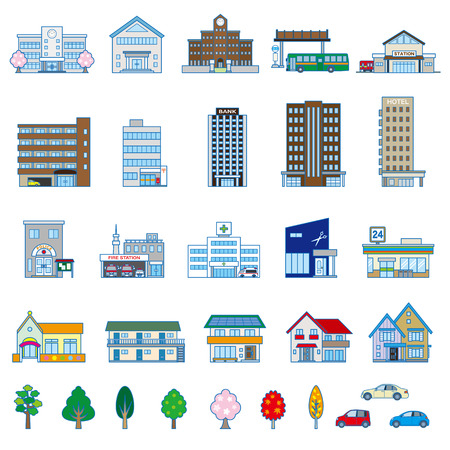 condominium: Various building Illustration