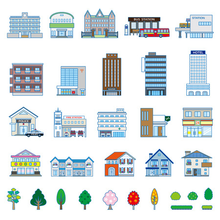 home school: Various building Illustration