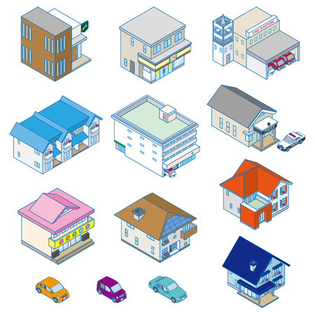 Various building   Solid figure Vector