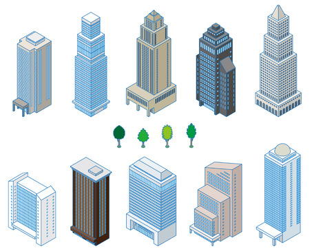 high rise: Various building   Solid figure