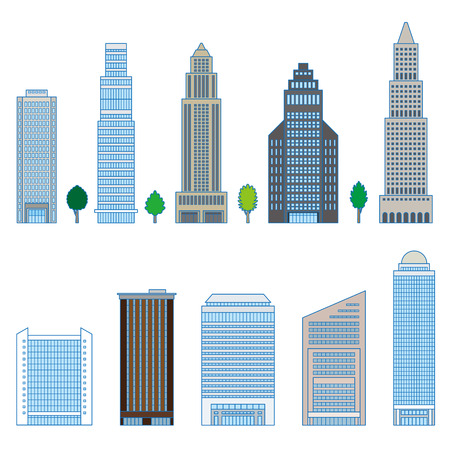high rise: Various building Illustration