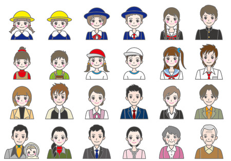 school girl uniform: Various person   Face Illustration