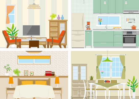 bedroom interior: Illustration of room