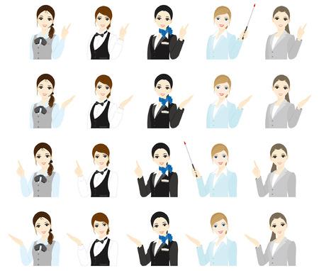cabin attendant: Businesswoman   Expression  Illustration
