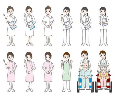 old nursing: Doctor  and Nurse Illustration