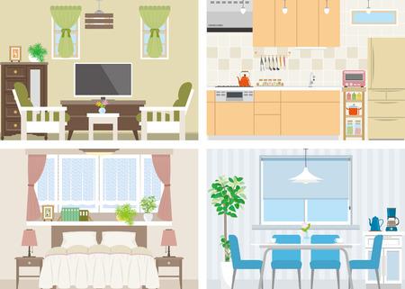 bed room: Illustration of room