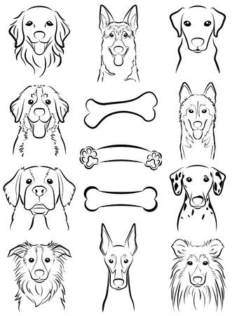 large dog: Dog  Line drawing