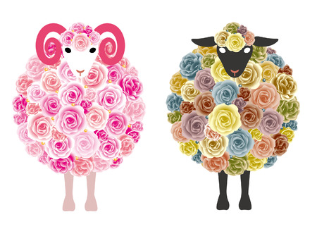 sheeps: Sheeps with Flowers Illustration
