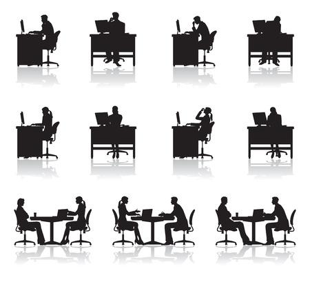 reunion de personas: Escena de negocio  Sombra Vectores