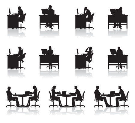 silueta: Escena de negocio  Sombra Vectores