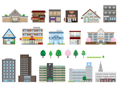 convenient store: Various buildings Illustration