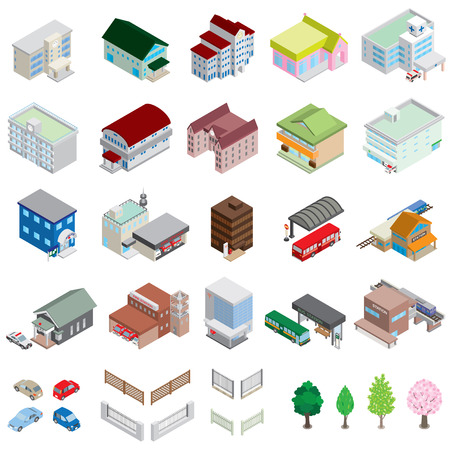 post office building: Various building  Solid figure Illustration