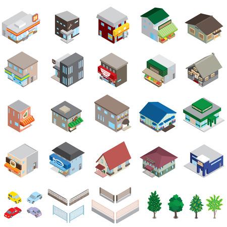 Various building  Solid figure Ilustracja