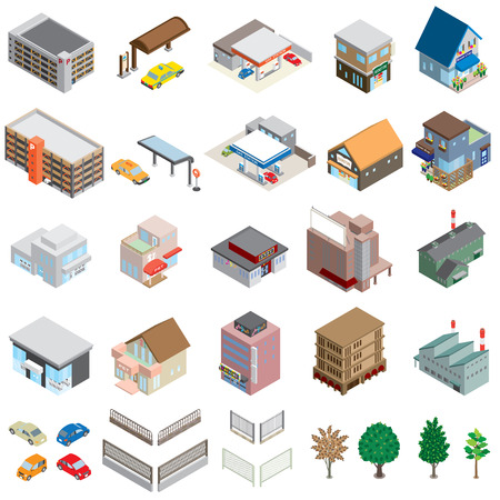 Various building  Solid figure Illustration