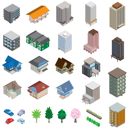 houses street: Various building  Solid figure Illustration