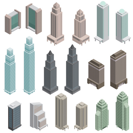office environment: Various building  Solid figure Illustration