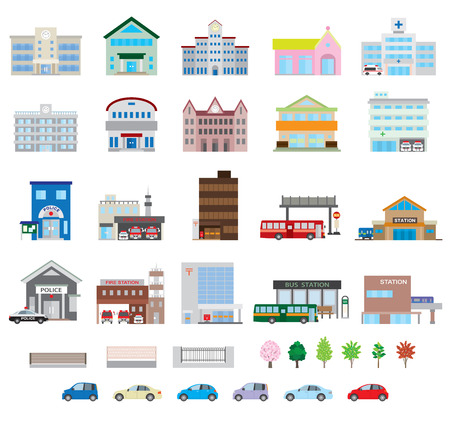 nursery school: Various building Illustration