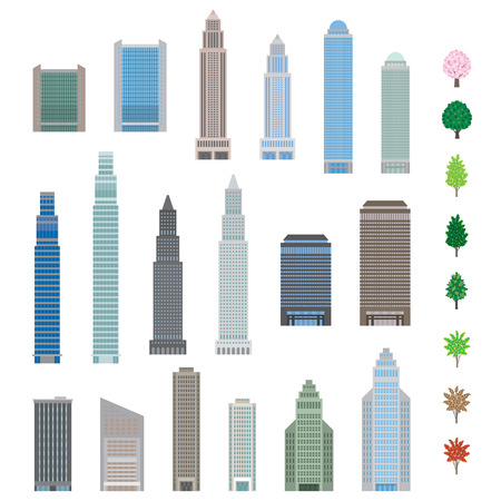 high rises: Various building Illustration