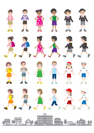 car clothes: Illustrations of various people  Children Illustration