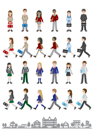 Illustrations of various people / Students  イラスト・ベクター素材