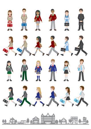 Illustrations of various people / Students Stock Illustratie