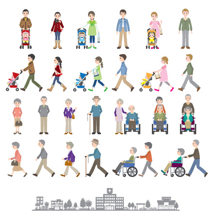 Illustrations of various people / Family