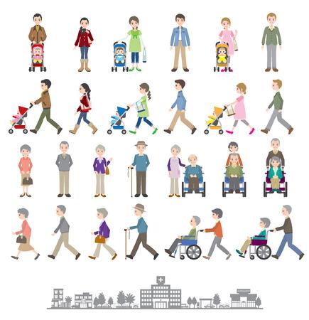 Ilustraciones de diferentes personas / familia Foto de archivo - 35834531