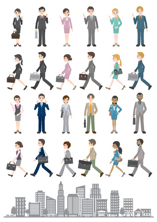 business district: Illustrations of various people  Business