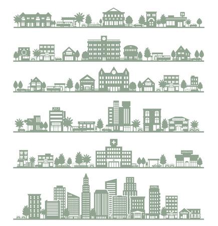 gebäude: Verschiedene Stadt Illustration