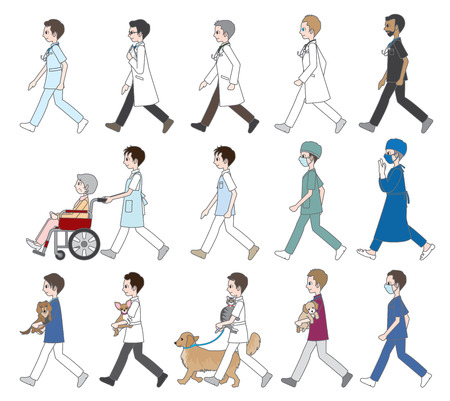 those: Those who are walking  Doctor & Nurse