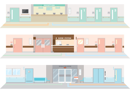 hospital corridor: Illustration of the hospital