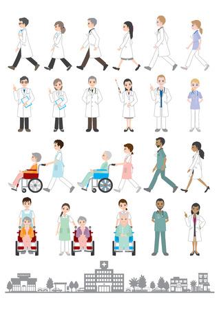 �ltere menschen: Doktor  Krankenschwester Illustration