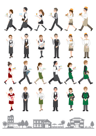 staffs: Illustrations of various people  People who work