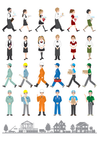 Illustrations of various people / People who work