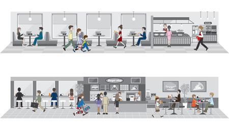 tiendas de comida: Negocios  Las personas que disfrutan de una comida Vectores