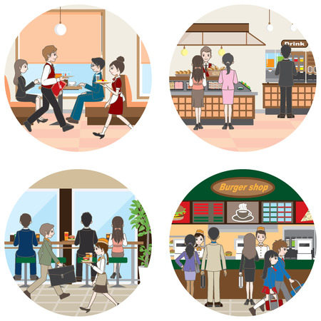 Business / People who enjoy a meal Stock Illustratie