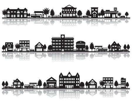 silhouette maison: Divers ville Illustration